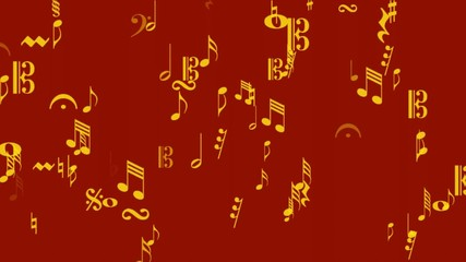 music notes area gold on red