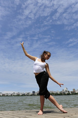 woman dancing outside with copyspace