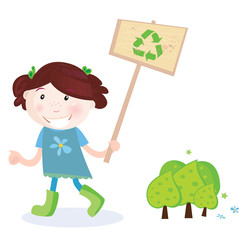 School girl support recycling. VECTOR ILLUSTRATION