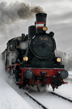 Fototapety Old steam locomotive in the snow