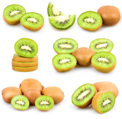Set of Fresh Kiwi Fruits Isolated