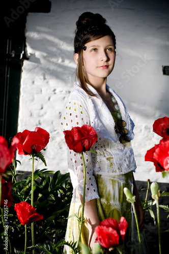 Teenage fashion girl with red poppies