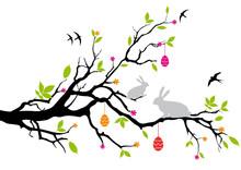 Króliczki wielkanocne siedzi na drzewie wiosną, wektor