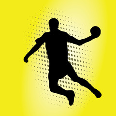 a handball player with a ball in vector