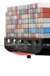 Heck eines Containerschiffs, isoliert