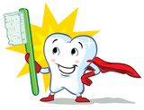 vector happy superhero healthy tooth, with toothbrush