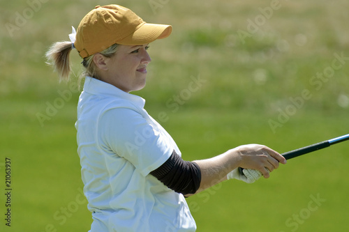 Concerned woman college golfer