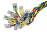 Closeup on bunch of multi coloured ethernet network cables poster