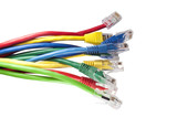 Set of brightly multi coloured ethernet network cables poster