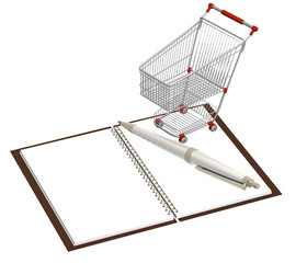 Shopping cart and notebook