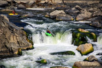 Kayaks Descending Waterfall in Rapids Near Great Falls Virginia