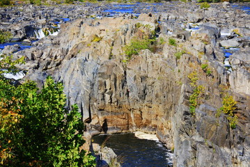 Rocks and Rapids and Cliff Near Great Falls Virginia