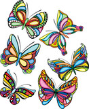 different multicolored butterflies - vector
