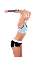 Woman exercising with fit bar