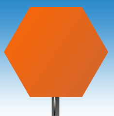 Blank hexagonal road sign