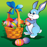 Little bunny with easter basket and eggs.