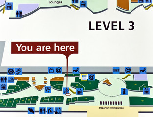 Airport terminal layout  - You are here