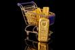Goldbarren im Einkaufswagen