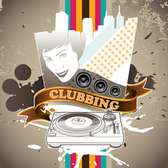 Designed clubbing banner. Vector illustration.