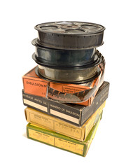 Pile of 16mm films and its boxes