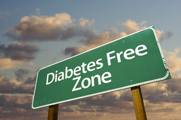 Diabetes Free Zone Green Road Sign and Clouds