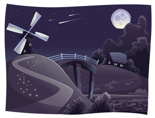 Countryside with windmill in the night. Vector landscape.