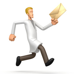 Medical doctor  runs with a letter