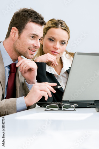 Working together on laptop
