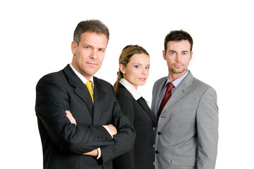 Business team with mature man leading