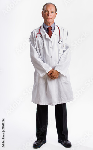 Doctor in lab coat and stethoscope