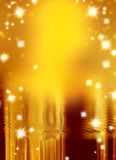 stars on a background of gold and blurry wave poster