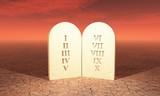3D - 10 Gebote der Bibel auf Steintafel - Moses poster