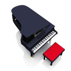 Black Piano on white floor