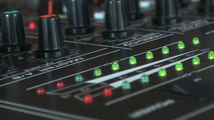 mischpult/mixer mit reglern und lautstärke anzeige