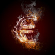 euro symbol burning, fire