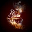 euro symbol burning, fire