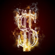 Dollar symbol burning, fire
