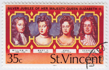 stamp printed in ST.Vincent shows UK Kings and Queen