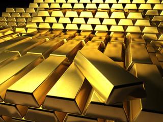 Viele Goldbarren, gestapelt