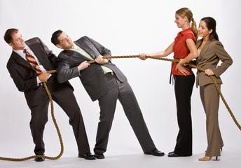 Business people playing tug-of-war