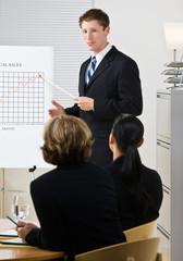 Businessman explaining chart