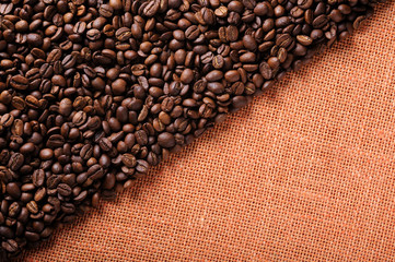 Background of the coffee beans and sackcloth