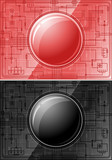 Two microchips with glossy buttons - black and red poster