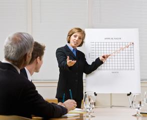 Businesswoman explaining chart