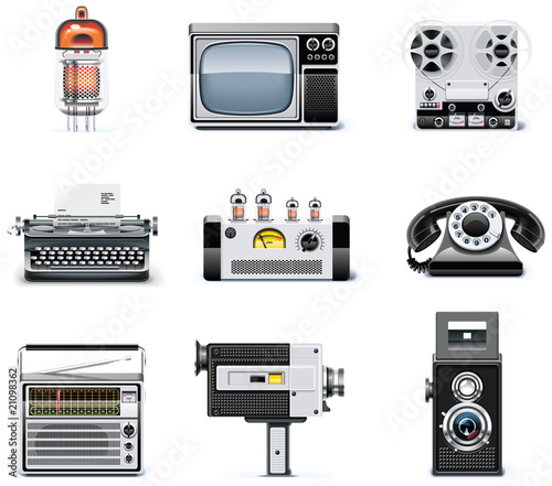 Vintage technologies icon set