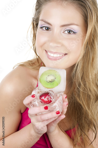 Girl with frozen fruit