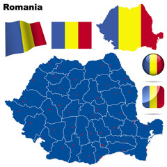 Romania vector set. Shape, flags and icons.