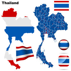 Thailand vector set. Shape, flags and icons.