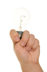 Hand and incandescent lamp
