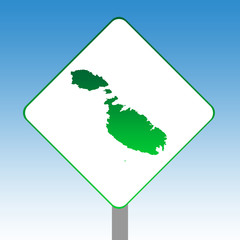 Malta map road sign